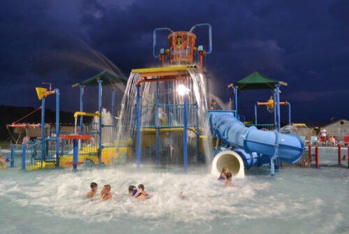 kiddie play slide and equipment at waterpark